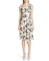 Jason Wu - Wrap Detail Plisse Silk Crepon Dress - Lyst