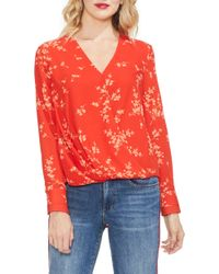 Vince Camuto - Printed Wrap Top - Lyst
