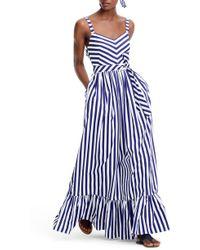 J.Crew Stripe Ruffle Cotton Maxi Dress - Blue