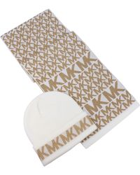Michael Kors Metallic Logo Beanie & Scarf Set - Natural