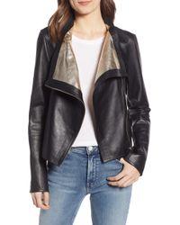 Lamarque - Metallic Lambskin Leather Jacket - Lyst