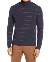Vince Stripe Mock Neck Wool Blend Sweater - Blue
