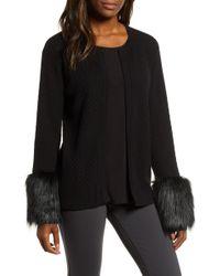 Chaus - Faux Fur Detail Cotton Cable Cardigan - Lyst