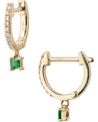 EF Collection - Princess Drop Huggie Hoop Earrings - Lyst