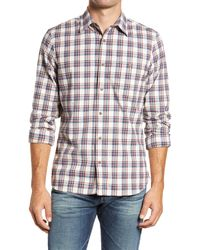1901 Slim Fit Plaid Button-up Flannel Shirt - Red