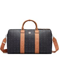 MCM Traveler Weekender Bag In Visetos - Black
