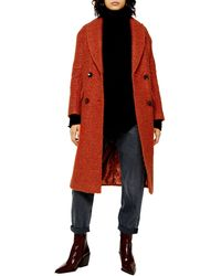TOPSHOP Boucle Double Breasted Coat - Red