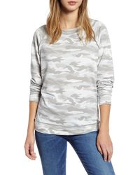 Caslon Caslon Cozy Print Sweatshirt - Gray