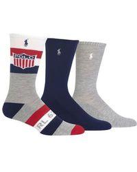 Ralph Lauren - Athletic Shield 3-pack Socks - Lyst