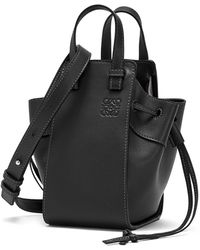 Loewe Mini Hammock Drawstring Leather Bag - Black