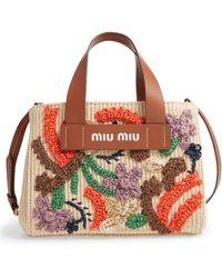 Miu Miu Embroidered Raffia Satchel - Multicolor