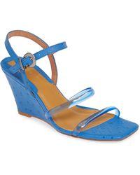Jaggar Transparent Strap Wedge Sandal - Blue