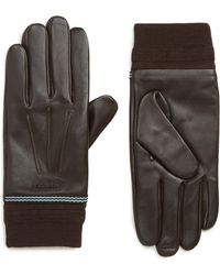 Ted Baker - Cuffed Leather Touchscreen Gloves - Lyst