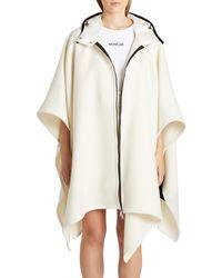 Moncler Mantella Down Hood Logo Jacquard Wool Cape - White