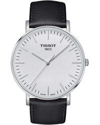 Tissot Everytime Leather Strap Watch - Metallic