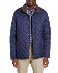 Peter Millar Suffolk Quilted Water-resistant Car Coat - Blue