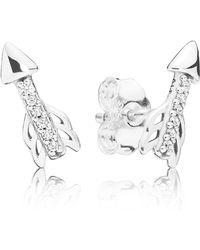 PANDORA - Sparkling Arrow Earrings - Lyst