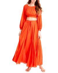 Free People Cleo Long Sleeve Crop Top & Skirt Set - Red