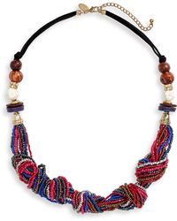 Natasha Couture Beaded Knot Statement Necklace - Multicolor