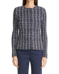 St. John Tweed Knit Jacket - Blue