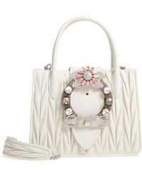 8e2756ed99b Miu Miu - Matelasse Jeweled Lambskin Leather Top Handle Satchel - Lyst