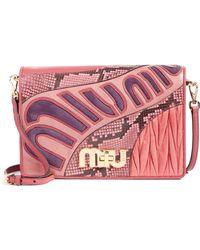 1262e89b3730 Miu Miu - Madras Goatskin Leather Shoulder Bag With Genuine Python Trim -  Lyst