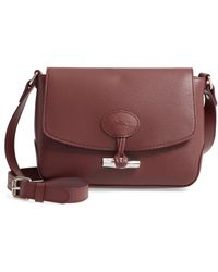 Longchamp Roseau Leather Crossbody Bag - Burgundy - Brown
