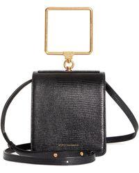 Marge Sherwood Pump Lizard Embossed Leather Top Handle Bag - Black