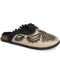 Free People - Walden Embroidereed Mule With Faux Fur Lining - Lyst