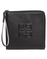 Givenchy - Emblem Square Lambskin Leather Clutch - Lyst