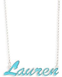 Argento Vivo Personalized Enamel Script Necklace - Blue