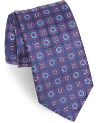 Canali Medallion Silk Tie - Purple