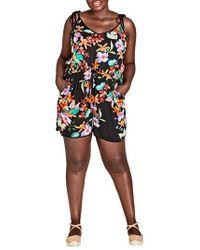 City Chic - Molokai Floral Romper - Lyst