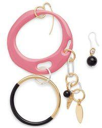 Diane von Furstenberg Asymmetrical Charm Earrings - Pink