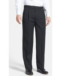 Berle | Self Sizer Waist Pleated Wool Gabardine Trousers | Lyst
