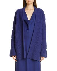 Zero + Maria Cornejo Loop Knit Cashmere & Wool Sweater Coat - Blue