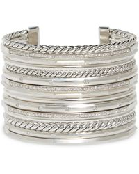 David Yurman - Stax Wide Cuff Bracelet With Diamonds - Lyst