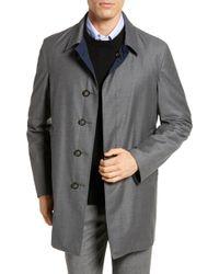 Hickey Freeman Classic Fit Reversible Wool & Silk Overcoat - Gray