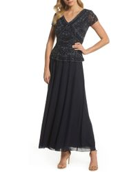 b101ec8069b Lyst - Pisarro Nights Illusion Neck Beaded A-line Gown (plus Size ...