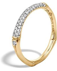 John Hardy - Bamboo Gold Diamond Pave Slim Band Ring - Lyst