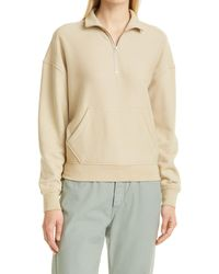 Rag & Bone City Half Zip Terry Pullover Relaxed Fit Sweater - Natural