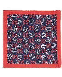Gucci - Ghost Stars Silk Square Scarf - Lyst