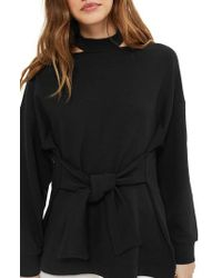 TOPSHOP | Cutout Belted Sweater | Lyst