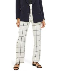 TOPSHOP - Check Popper Wide Leg Trousers - Lyst