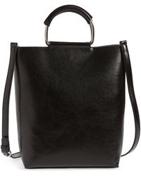 BP. Metal Handle Faux Leather Tote - Black
