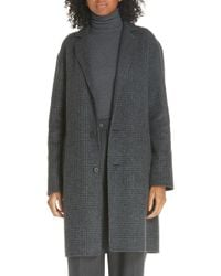 Polo Ralph Lauren Plaid Wool Blend Coat - Gray
