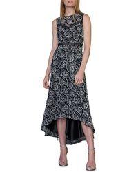 ML Monique Lhuillier Sleeveless High-low Lace Cocktail Dress - Black