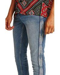 TOPMAN - Side Stitched Stretch Skinny Jeans - Lyst