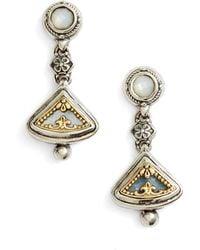 Konstantino Etched Sterling Silver & Gold Drop Earrings - Metallic
