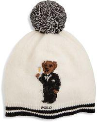 Polo Ralph Lauren Tuxedo Bear Pom Beanie - Natural